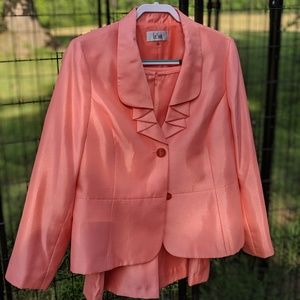 Peach Shimmer Le Suit Skirt Suit